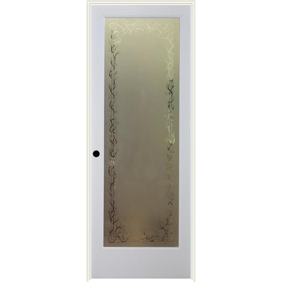 Shop reliabilt jasmine solid core frosted glass single prehung interior door common 28 in x 80 for 5 panel frosted glass interior door