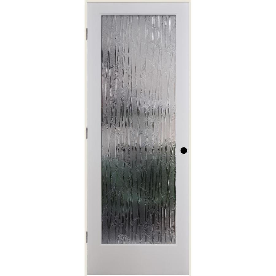 ReliaBilt Bamboo Solid Core Patterned Glass Single Prehung Interior Door (Common: 24-in x 80-in; Actual: 25.5-in x 82.1875-in)