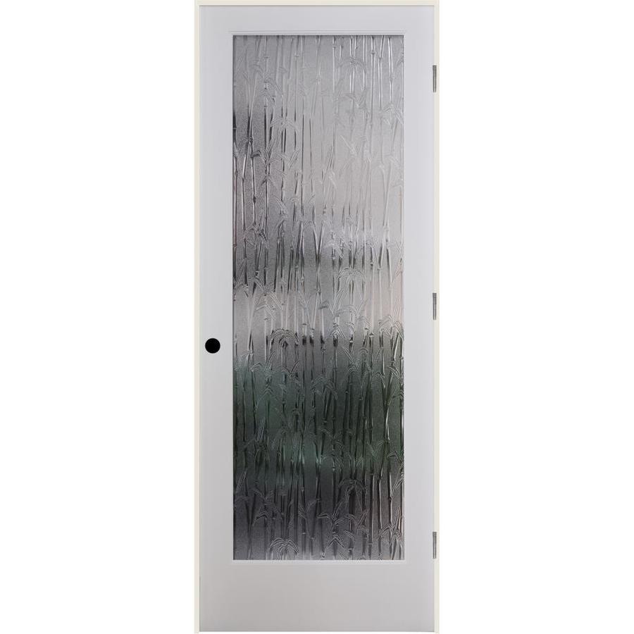 ReliaBilt Bamboo Solid Core Patterned Glass Single Prehung Interior Door (Common: 36-in x 80-in; Actual: 37.5-in x 81.6875-in)
