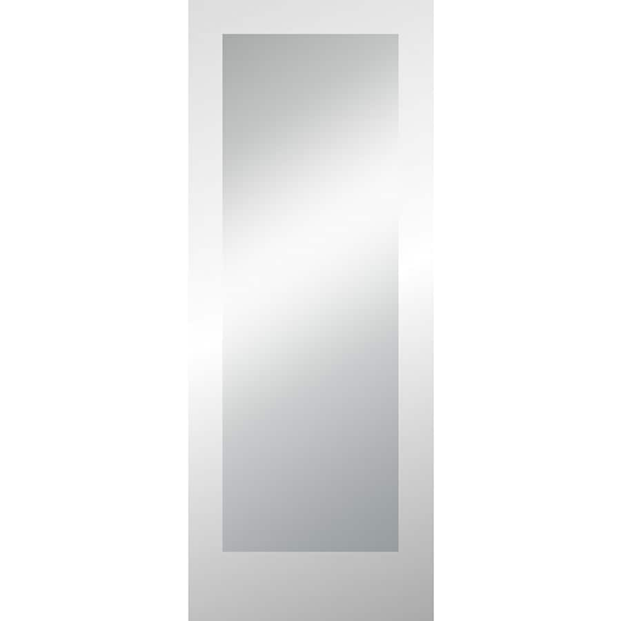 Shop Reliabilt Clear Glass Primed 1 Panel Solid Core Wood Slab Door Common 32 In X 80 In