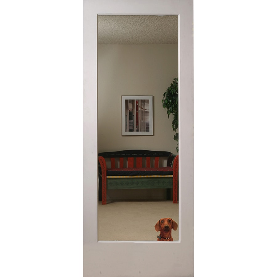 Shop Reliabilt Primed White 1 Panel Solid Core Mirrored Glass Pine Wood Slab Door Common 28 In