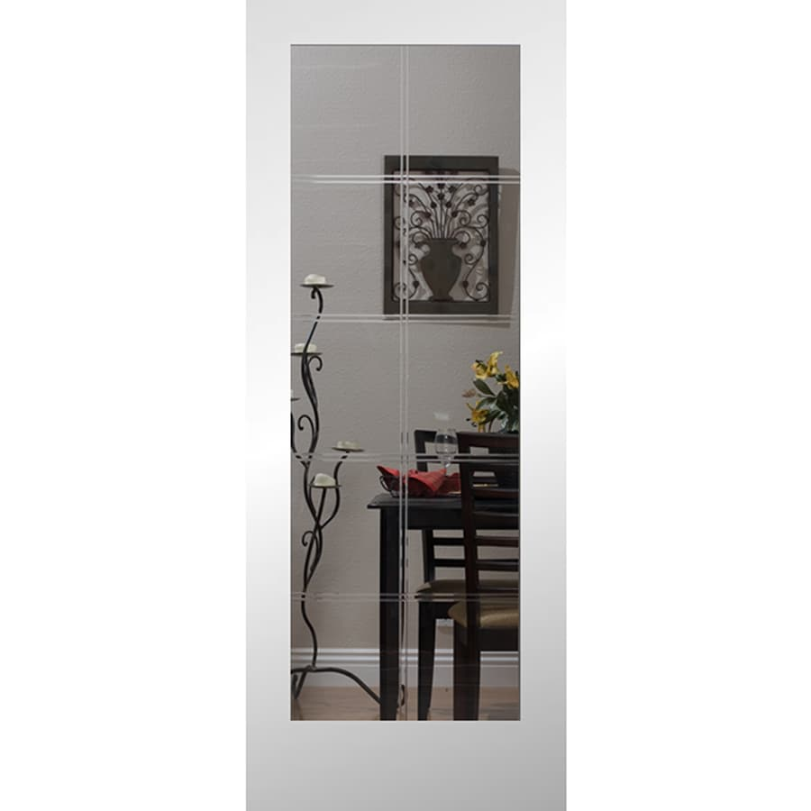 ReliaBilt 10LT V-Groove Solid Core Etched Glass Slab Interior Door (Common: 30-in x 80-in; Actual: 30-in x 80-in)