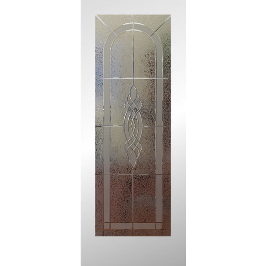 Shop reliabilt primed white 1 panel solid core etched glass pine wood slab door common 32 in x for Reliabilt decorative glass interior doors