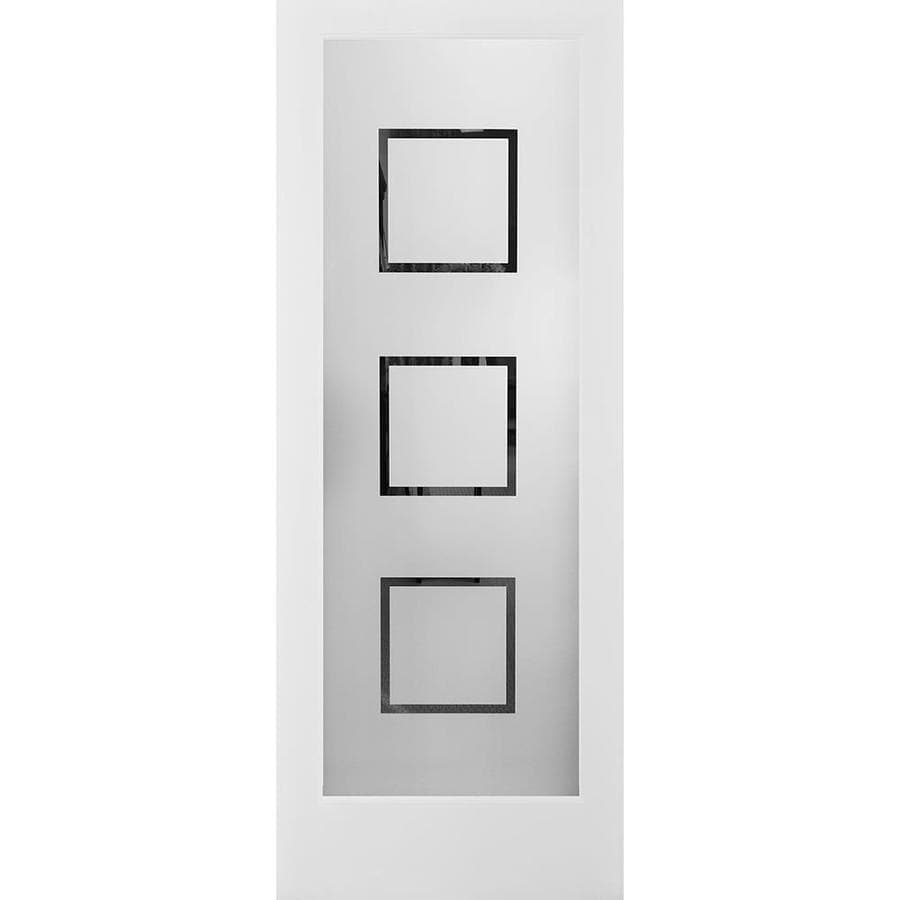 Shop ReliaBilt Primed White 1-Panel Solid Core Frosted Glass Wood ...