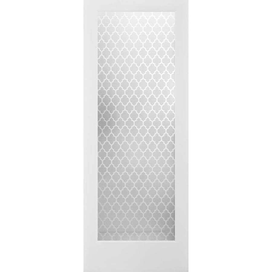 ReliaBilt Cathedral Solid Core Frosted Glass Slab Interior Door (Common: 24-in x 80-in; Actual: 24-in x 80-in)