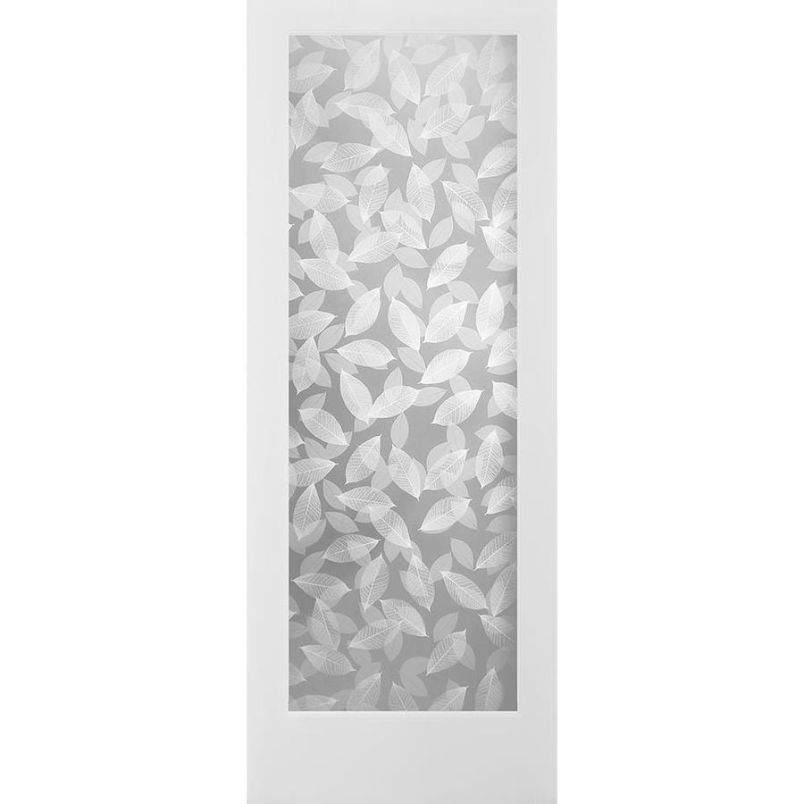 ReliaBilt Botanical Solid Core Frosted Glass Slab Interior Door (Common: 30-in x 80-in; Actual: 30-in x 80-in)