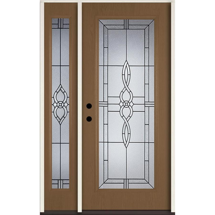 ReliaBilt Calista Decorative Glass Right-Hand Inswing Woodhaven Fiberglass Stained Entry Door (Common: 48-in x 80-in; Actual: 51-in x 81.75-in)
