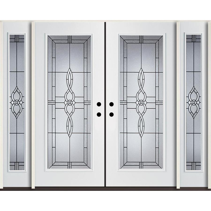 ReliaBilt Calista Decorative Glass Left-Hand Inswing Modern White Fiberglass Painted Entry Door (Common: 96-in x 80-in; Actual: 100.875-in x 81.75-in)
