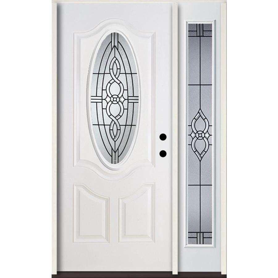 ReliaBilt Calista Decorative Glass Left-Hand Inswing Modern White Fiberglass Painted Entry Door (Common: 48-in x 80-in; Actual: 51-in x 81.75-in)