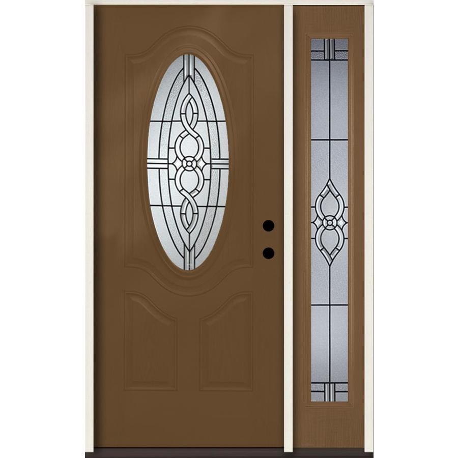 ReliaBilt Calista Decorative Glass Left-Hand Inswing Woodhaven Fiberglass Stained Entry Door (Common: 48-in x 80-in; Actual: 51-in x 81.75-in)