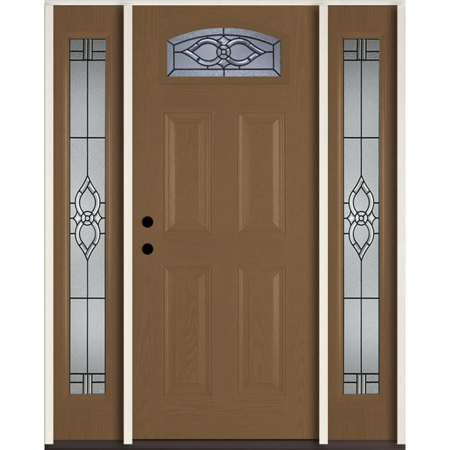 ReliaBilt Calista Decorative Glass Left-Hand Inswing Woodhaven Fiberglass Stained Entry Door (Common: 60-in x 80-in; Actual: 64.5-in x 81.75-in)