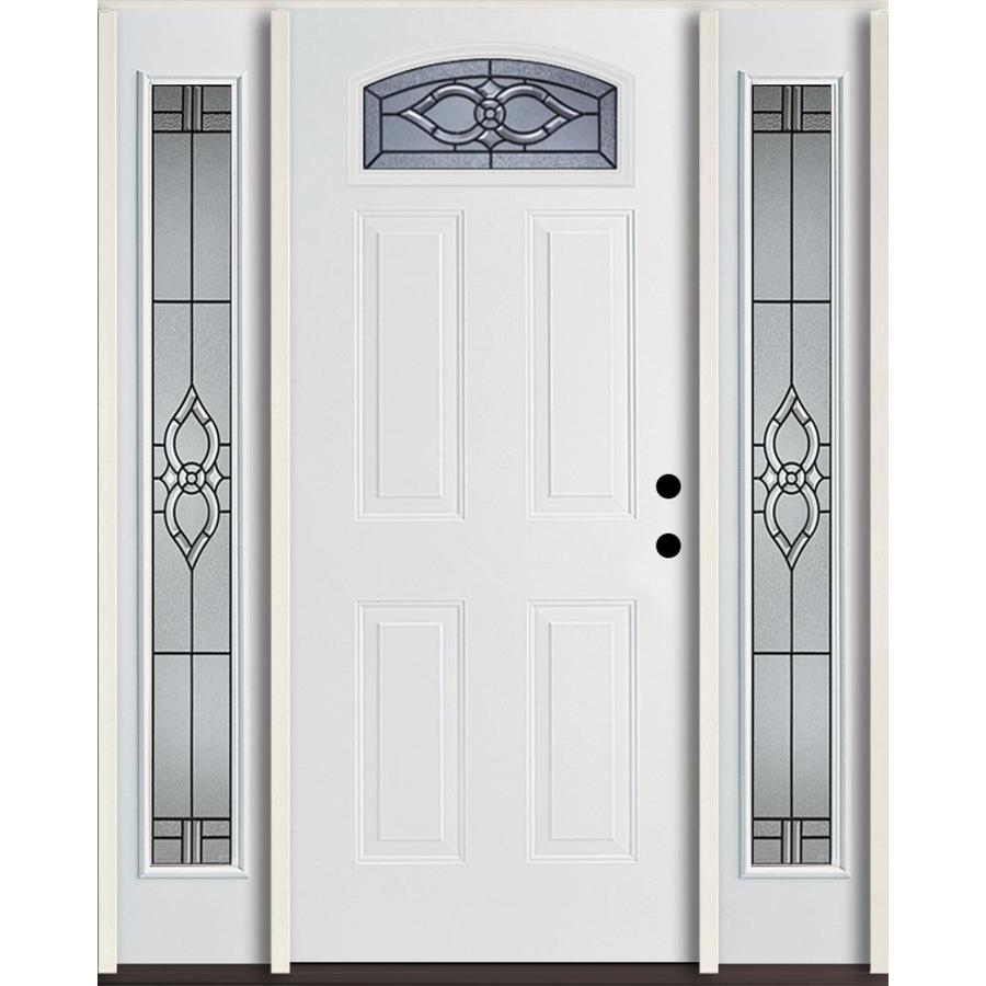 ReliaBilt Calista Decorative Glass Right-Hand Inswing Modern White Fiberglass Painted Entry Door (Common: 60-in x 80-in; Actual: 64.5-in x 81.75-in)