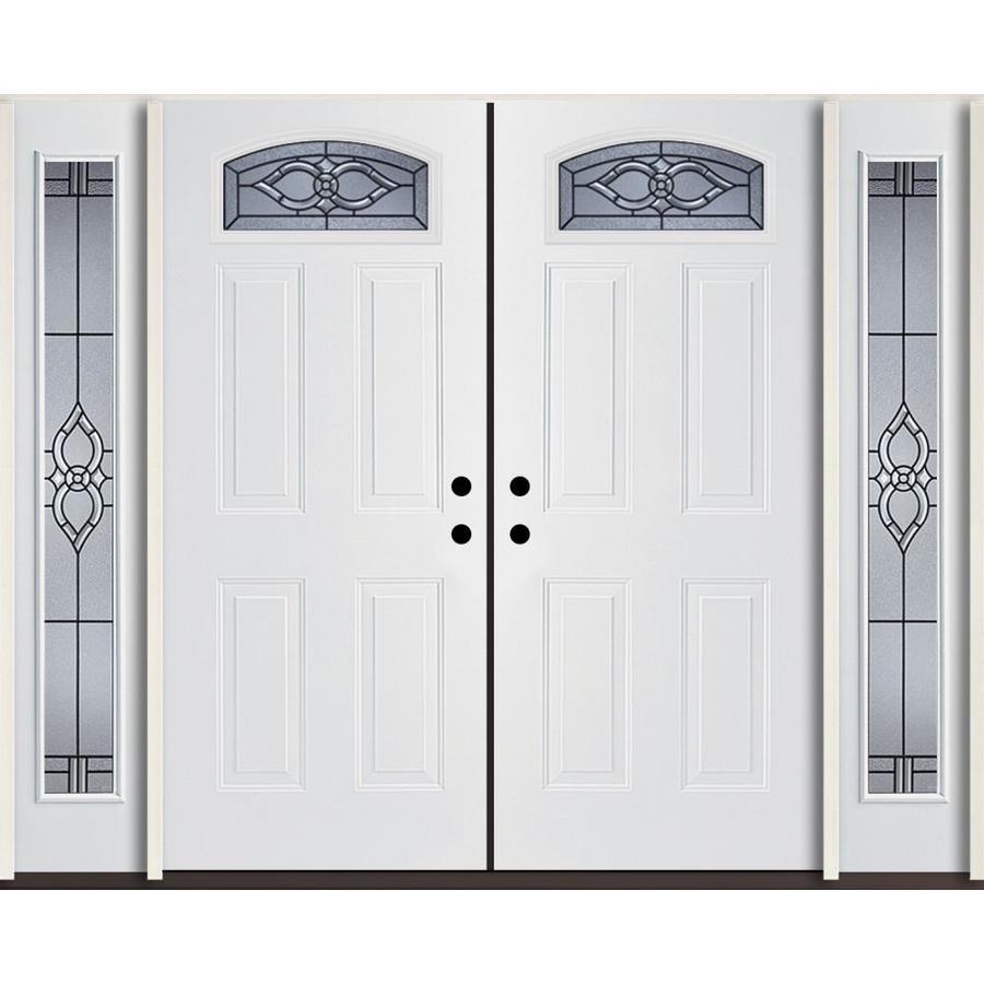 ReliaBilt Calista Decorative Glass Right-Hand Inswing Modern White Fiberglass Painted Entry Door (Common: 96-in x 80-in; Actual: 100.875-in x 81.75-in)