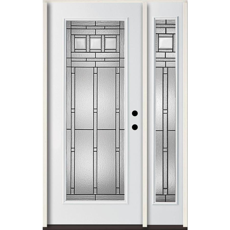 ReliaBilt Craftsman Decorative Glass Left-Hand Inswing Modern White Fiberglass Painted Entry Door (Common: 48-in x 80-in; Actual: 51-in x 81.75-in)