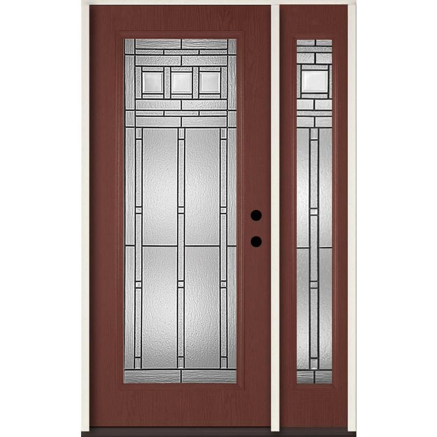 ReliaBilt Craftsman Decorative Glass Left-Hand Inswing Wineberry Fiberglass Stained Entry Door (Common: 48-in x 80-in; Actual: 51-in x 81.75-in)