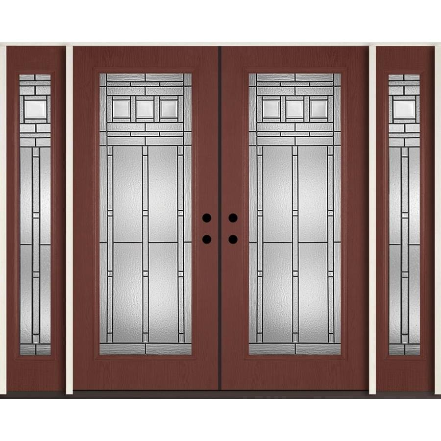 ReliaBilt Craftsman Decorative Glass Right-Hand Inswing Wineberry Fiberglass Stained Entry Door (Common: 96-in x 80-in; Actual: 100.875-in x 81.75-in)