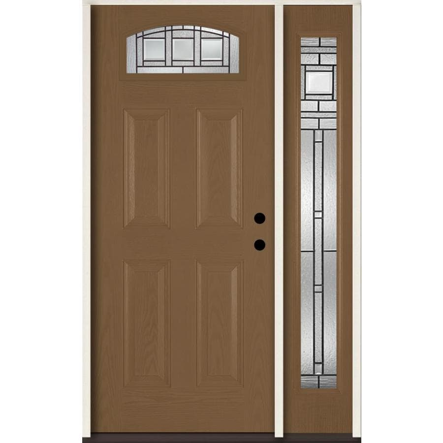 ReliaBilt Craftsman Decorative Glass Left-Hand Inswing Woodhaven Fiberglass Stained Entry Door (Common: 48-in x 80-in; Actual: 51-in x 81.75-in)