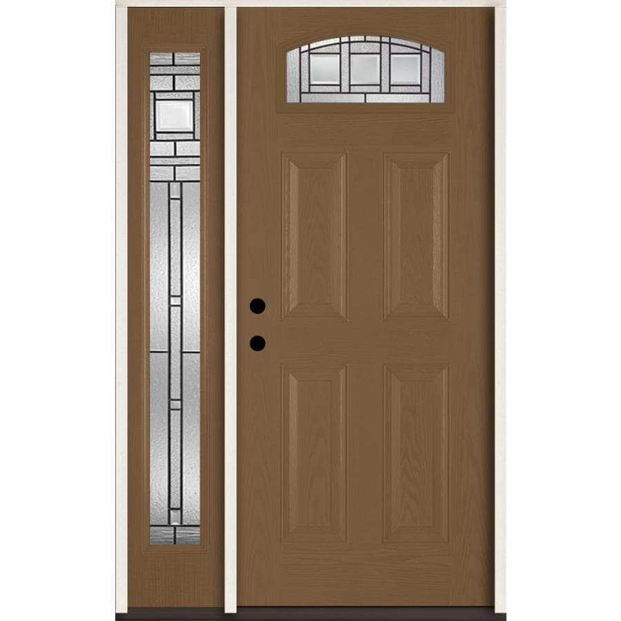 ReliaBilt Craftsman Decorative Glass Right-Hand Inswing Woodhaven Fiberglass Stained Entry Door (Common: 48-in x 80-in; Actual: 51-in x 81.75-in)