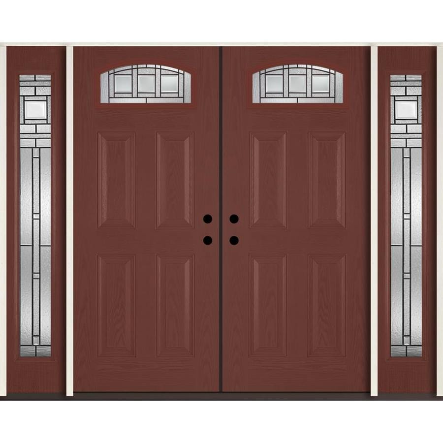 ReliaBilt Craftsman Decorative Glass Left-Hand Inswing Wineberry Fiberglass Stained Entry Door (Common: 96-in x 80-in; Actual: 100.875-in x 81.75-in)