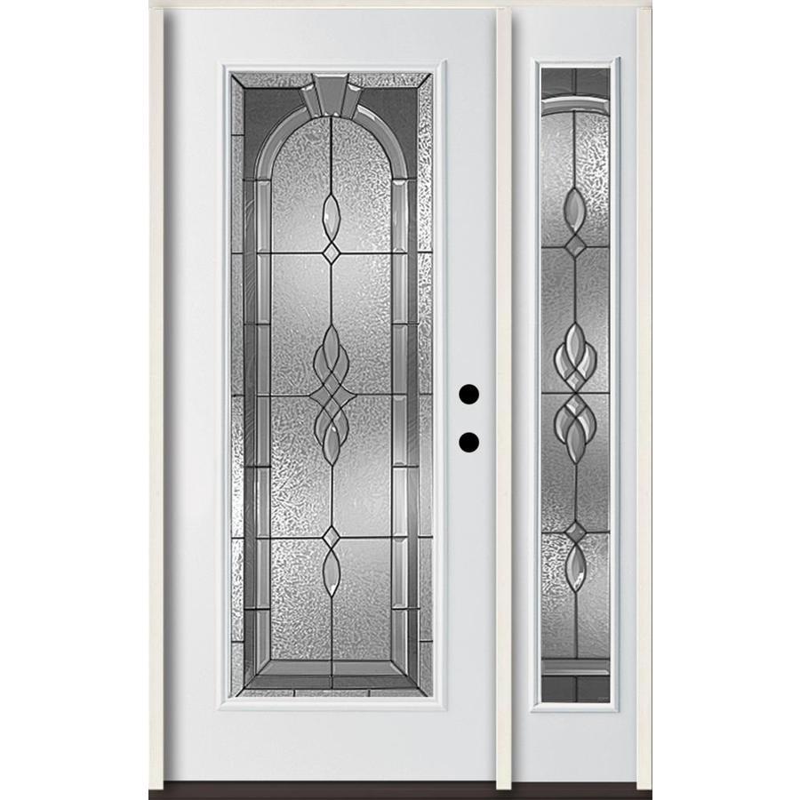 Reliabilt Hampton Full Lite Decorative Gl Left Hand Inswing Modern White Painted Fibergl Prehung Entry Door With Sidelight Insulating Core
