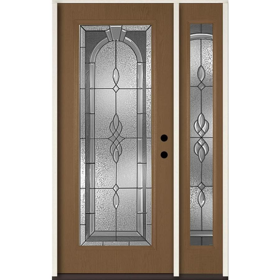 ReliaBilt Hampton Decorative Glass Left-Hand Inswing Woodhaven Fiberglass Stained Entry Door (Common: 48-in x 80-in; Actual: 51-in x 81.75-in)