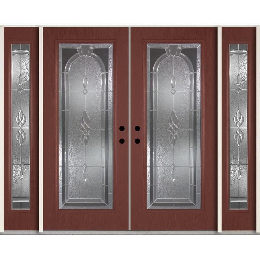 ReliaBilt Hampton Decorative Glass Right-Hand Inswing Wineberry Fiberglass Stained Entry Door (Common: 96-in x 80-in; Actual: 100.875-in x 81.75-in)