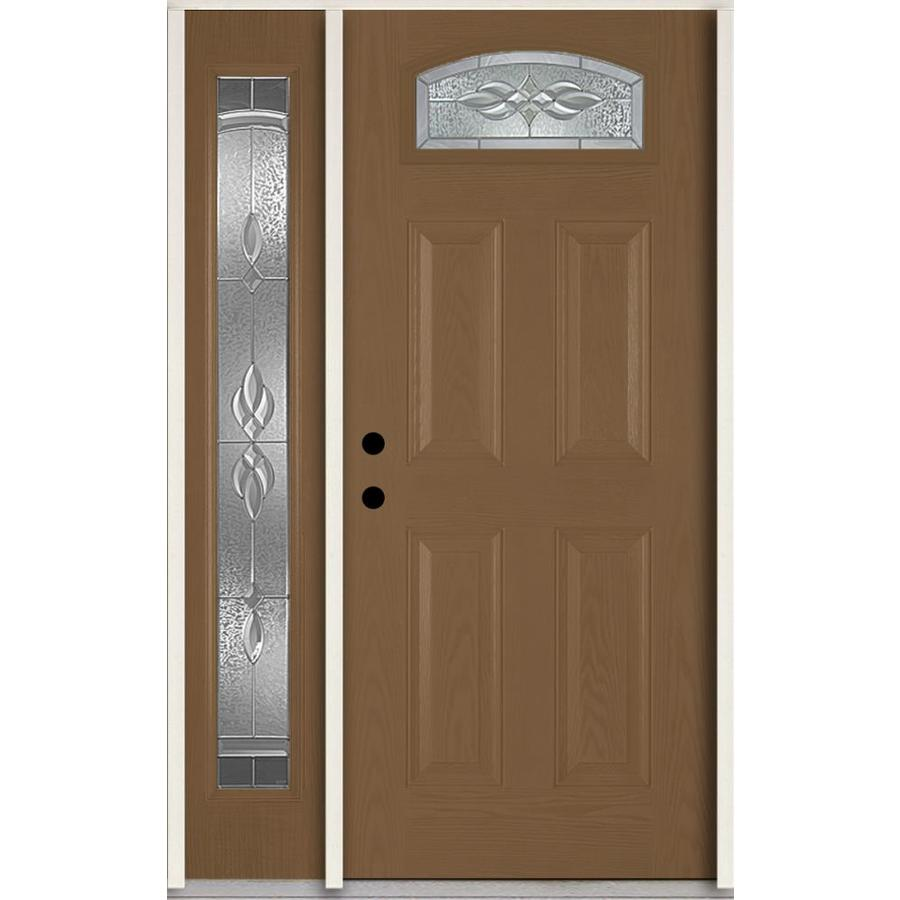 ReliaBilt Hampton Decorative Glass Right-Hand Inswing Woodhaven Fiberglass Stained Entry Door (Common: 48-in x 80-in; Actual: 51-in x 81.75-in)