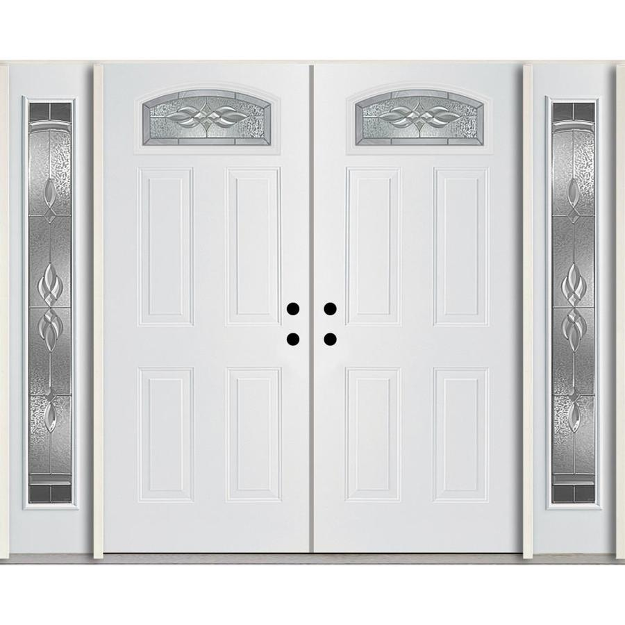 ReliaBilt Hampton Decorative Glass Right-Hand Inswing Modern White Fiberglass Painted Entry Door (Common: 96-in x 80-in; Actual: 100.875-in x 81.75-in)