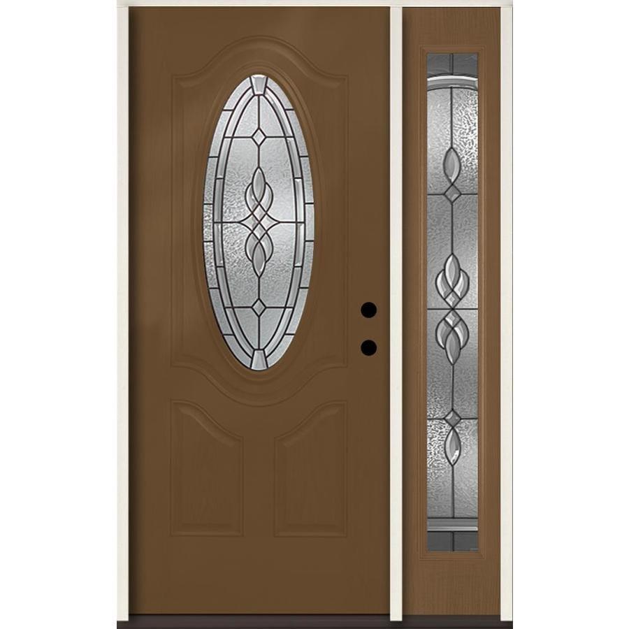 ReliaBilt Hampton Decorative Glass Left-Hand Inswing Woodhaven Fiberglass Stained Entry Door (Common: 48-in x 80-in; Actual: 51-in x 81.75-in)
