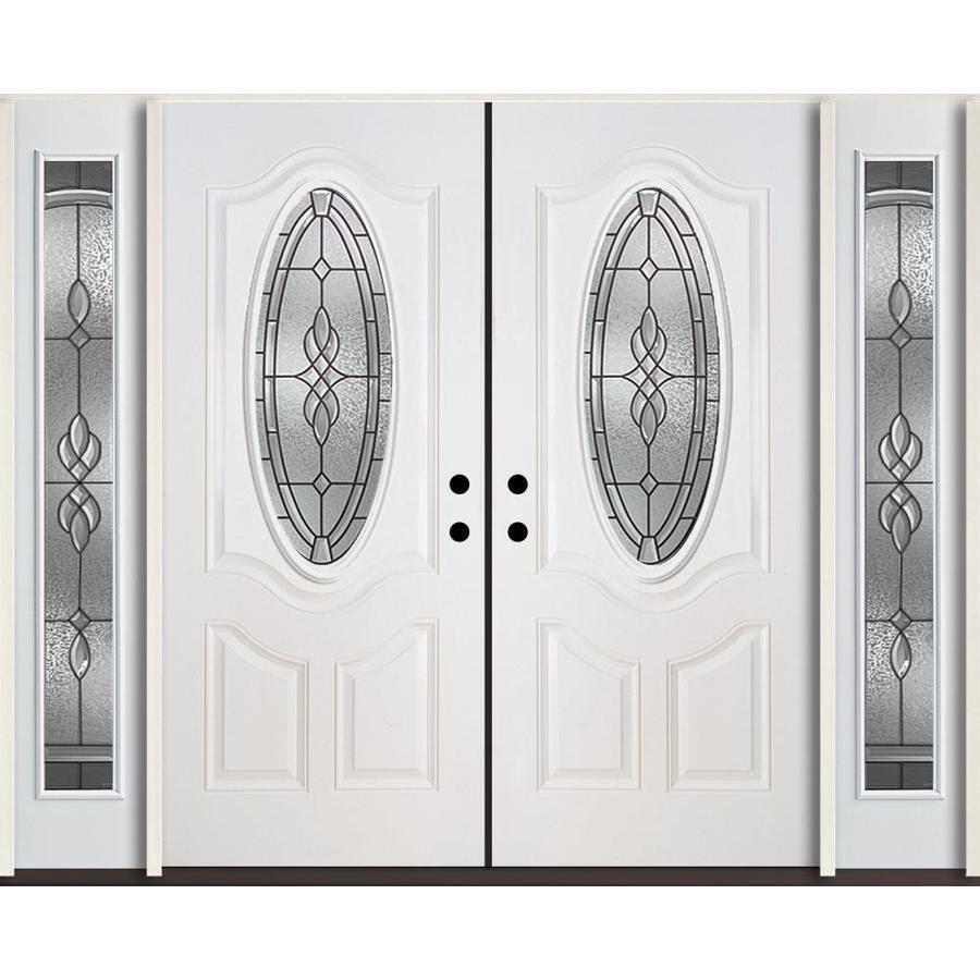 ReliaBilt Hampton Decorative Glass Left-Hand Inswing Modern White Fiberglass Painted Entry Door (Common: 96-in x 80-in; Actual: 100.875-in x 81.75-in)