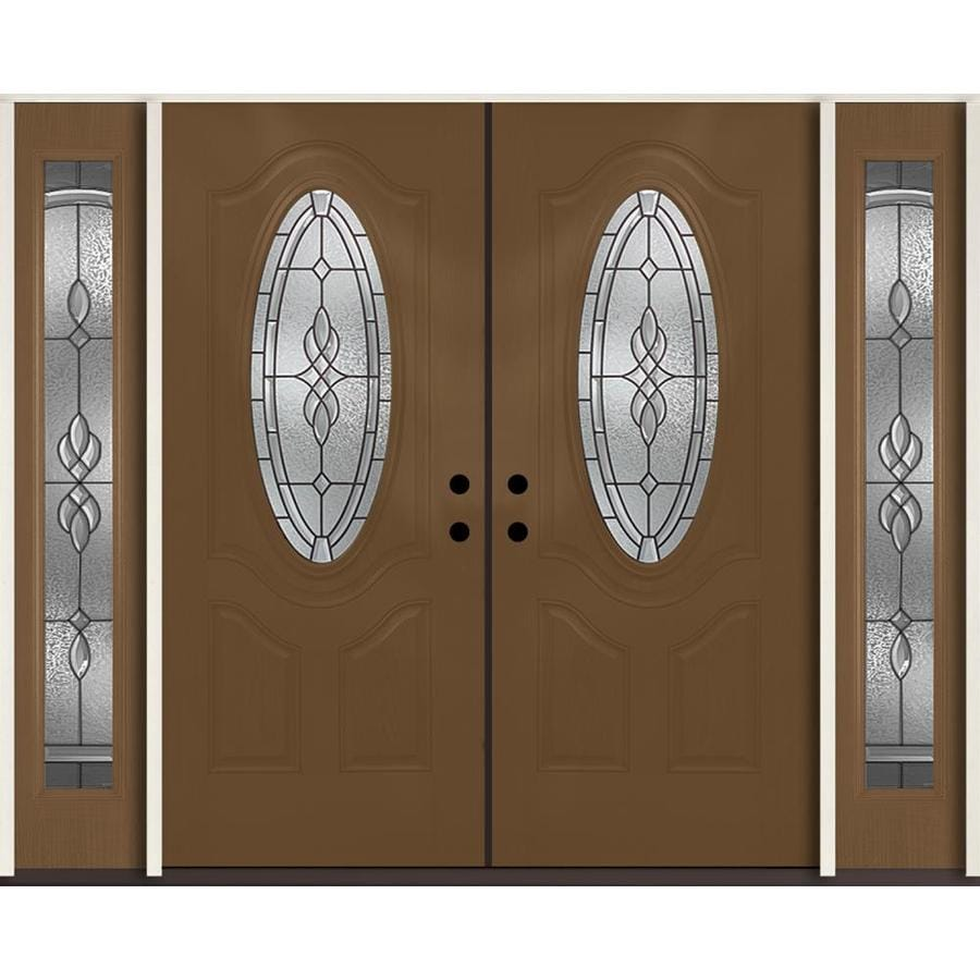 ReliaBilt Hampton Decorative Glass Right-Hand Inswing Woodhaven Fiberglass Stained Entry Door (Common: 96-in x 80-in; Actual: 100.875-in x 81.75-in)