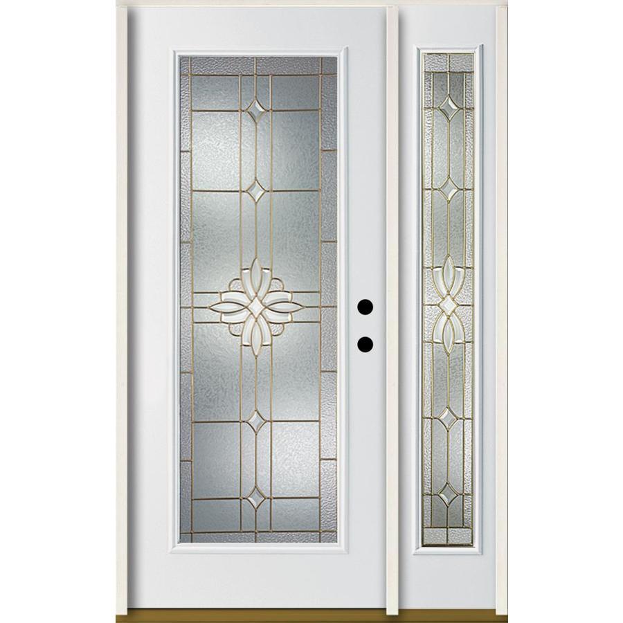 Shop Reliabilt Laurel Decorative Glass Left Hand Inswing Modern White Fiberglass Painted Entry