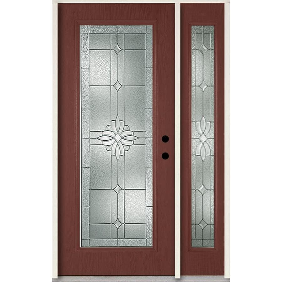 ReliaBilt Laurel Decorative Glass Left-Hand Inswing Wineberry Fiberglass Stained Entry Door (Common: 48-in x 80-in; Actual: 51-in x 81.75-in)