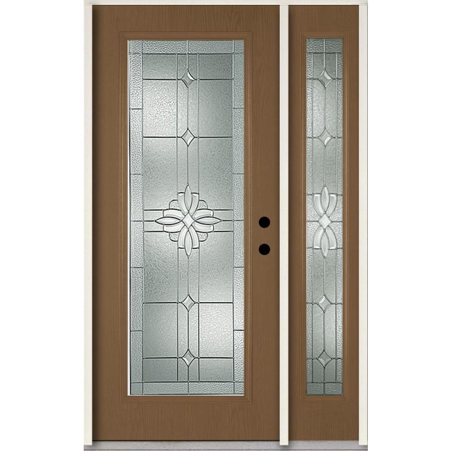 ReliaBilt Laurel Decorative Glass Left-Hand Inswing Woodhaven Fiberglass Stained Entry Door (Common: 48-in x 80-in; Actual: 51-in x 81.75-in)