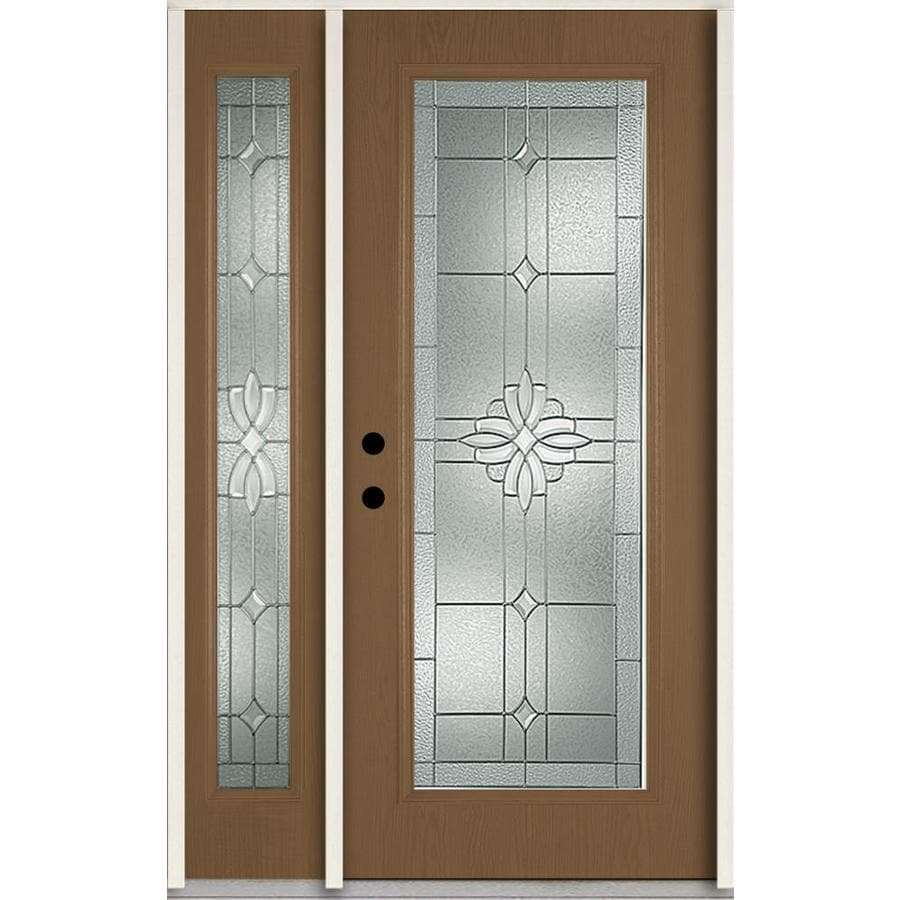 ReliaBilt Laurel Decorative Glass Right-Hand Inswing Woodhaven Fiberglass Stained Entry Door (Common: 48-in x 80-in; Actual: 51-in x 81.75-in)