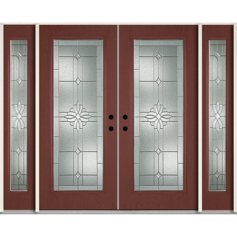 ReliaBilt Laurel Decorative Glass Right-Hand Inswing Wineberry Fiberglass Stained Entry Door (Common: 96-in x 80-in; Actual: 100.875-in x 81.75-in)