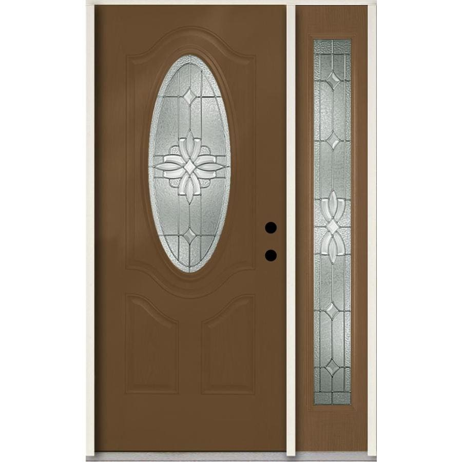 ReliaBilt Laurel Decorative Glass Left-Hand Inswing Woodhaven Fiberglass Stained Entry Door (Common: 48-in x 80-in; Actual: 51-in x 81.75-in)