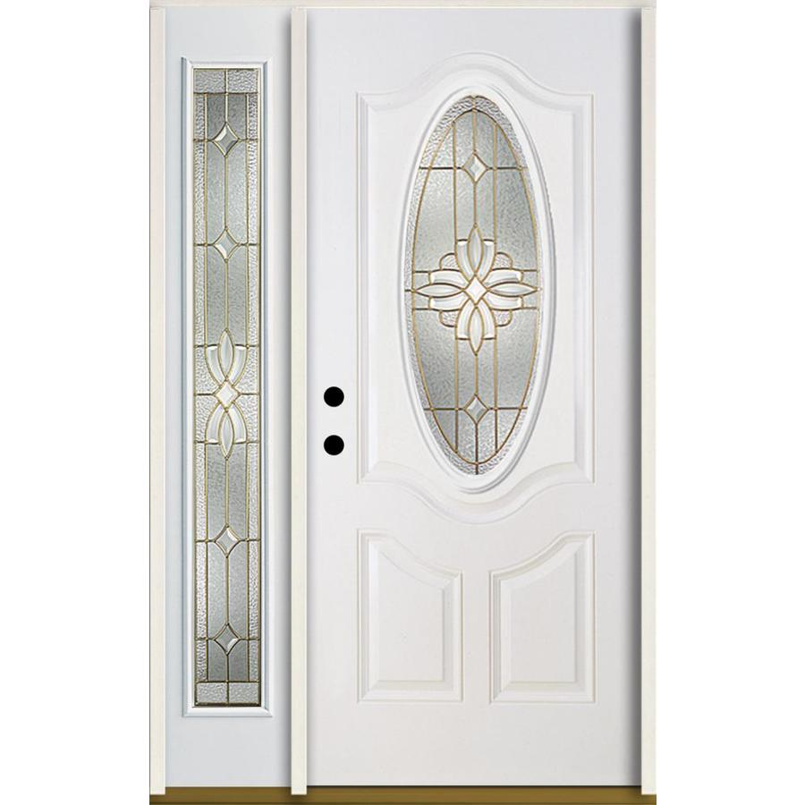 ReliaBilt Laurel Decorative Glass Right-Hand Inswing Modern White Fiberglass Painted Entry Door (Common: 48-in x 80-in; Actual: 51-in x 81.75-in)