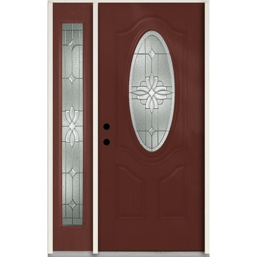 ReliaBilt Laurel Decorative Glass Right-Hand Inswing Wineberry Fiberglass Stained Entry Door (Common: 48-in x 80-in; Actual: 51-in x 81.75-in)