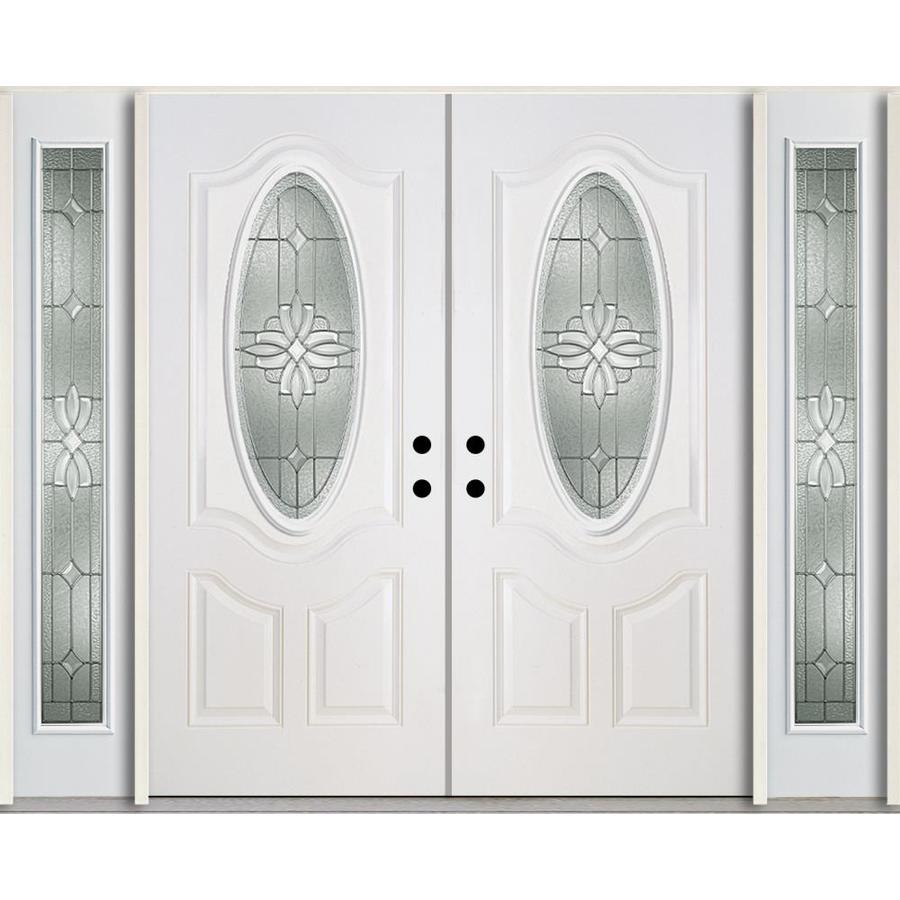 ReliaBilt Laurel Decorative Glass Left-Hand Inswing Modern White Fiberglass Painted Entry Door (Common: 96-in x 80-in; Actual: 100.875-in x 81.75-in)