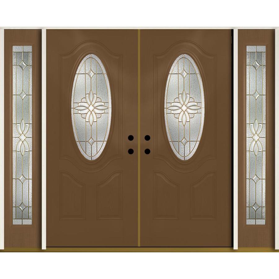 ReliaBilt Laurel Decorative Glass Left-Hand Inswing Woodhaven Fiberglass Stained Entry Door (Common: 96-in x 80-in; Actual: 100.875-in x 81.75-in)