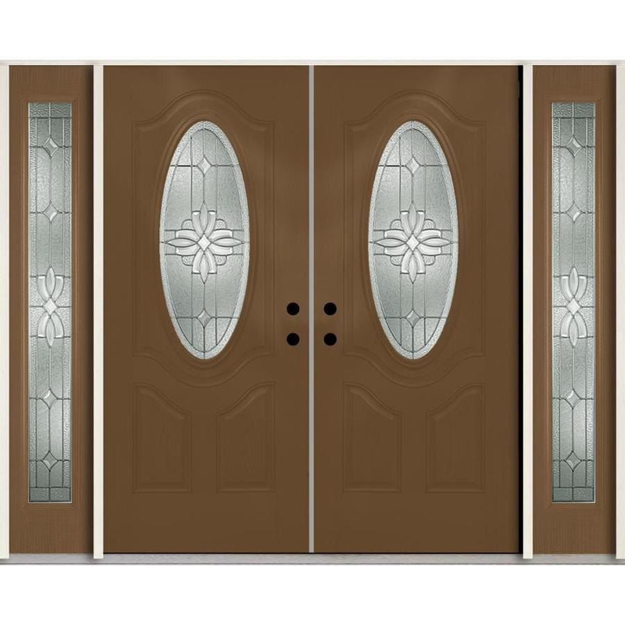 ReliaBilt Laurel Decorative Glass Right-Hand Inswing Woodhaven Fiberglass Stained Entry Door (Common: 96-in x 80-in; Actual: 100.875-in x 81.75-in)