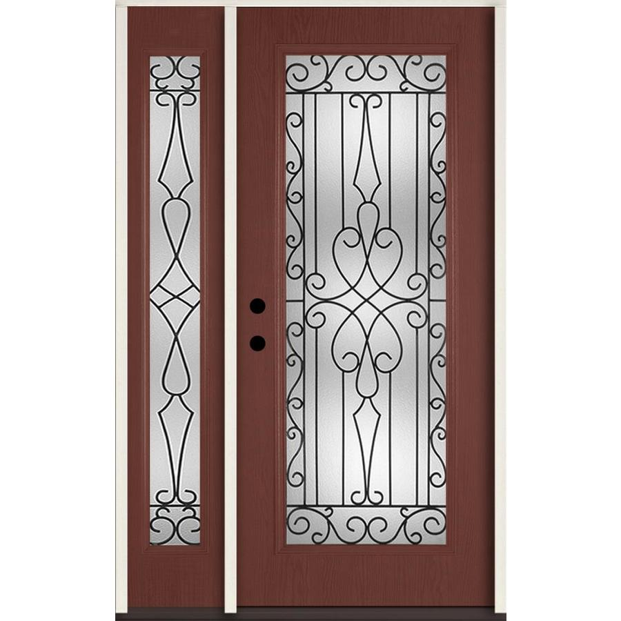 ReliaBilt Wyngate Decorative Glass Right-Hand Inswing Wineberry Fiberglass Stained Entry Door (Common: 48-in x 80-in; Actual: 51-in x 81.75-in)