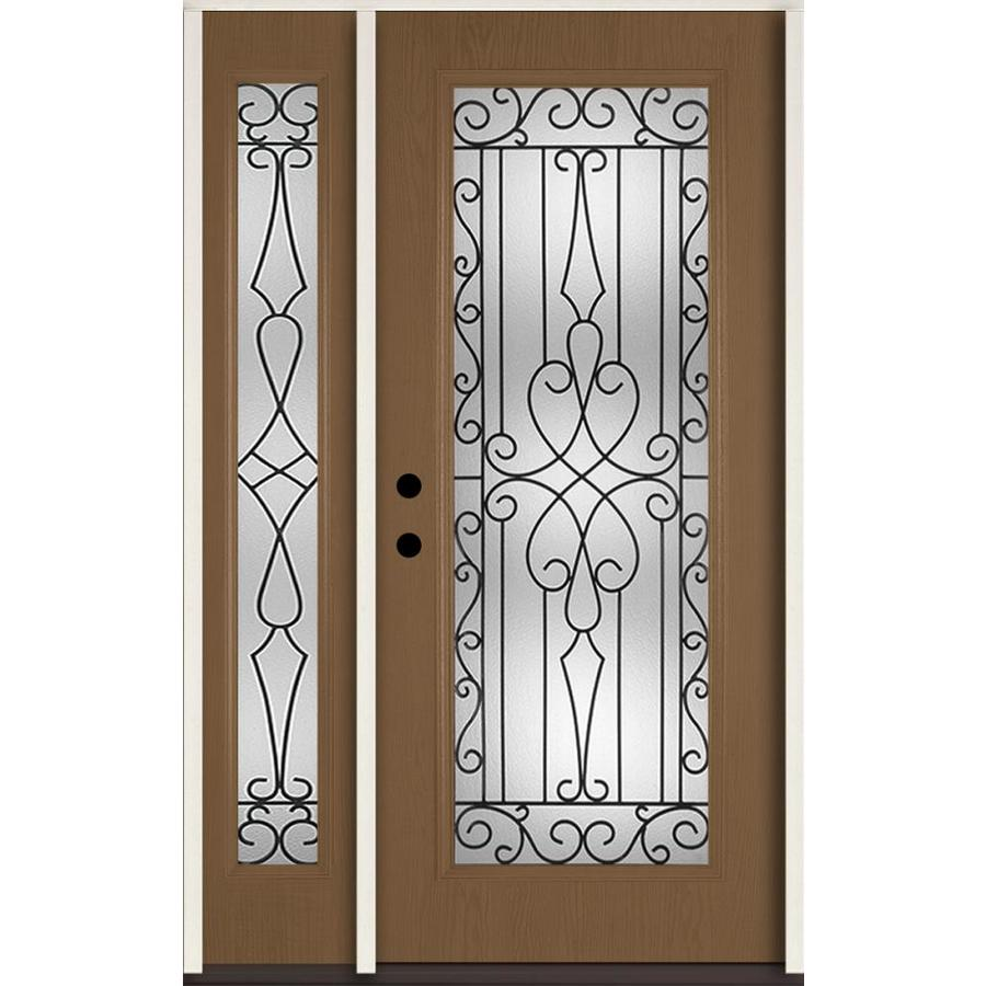 ReliaBilt Wyngate Decorative Glass Right-Hand Inswing Woodhaven Fiberglass Stained Entry Door (Common: 48-in x 80-in; Actual: 51-in x 81.75-in)