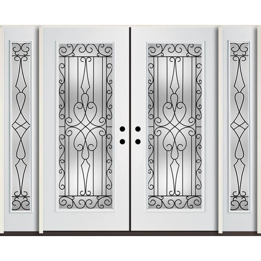 Reliabilt Wyngate Decorative Gl Right Hand Inswing Modern White Fibergl Painted Entry Door Common