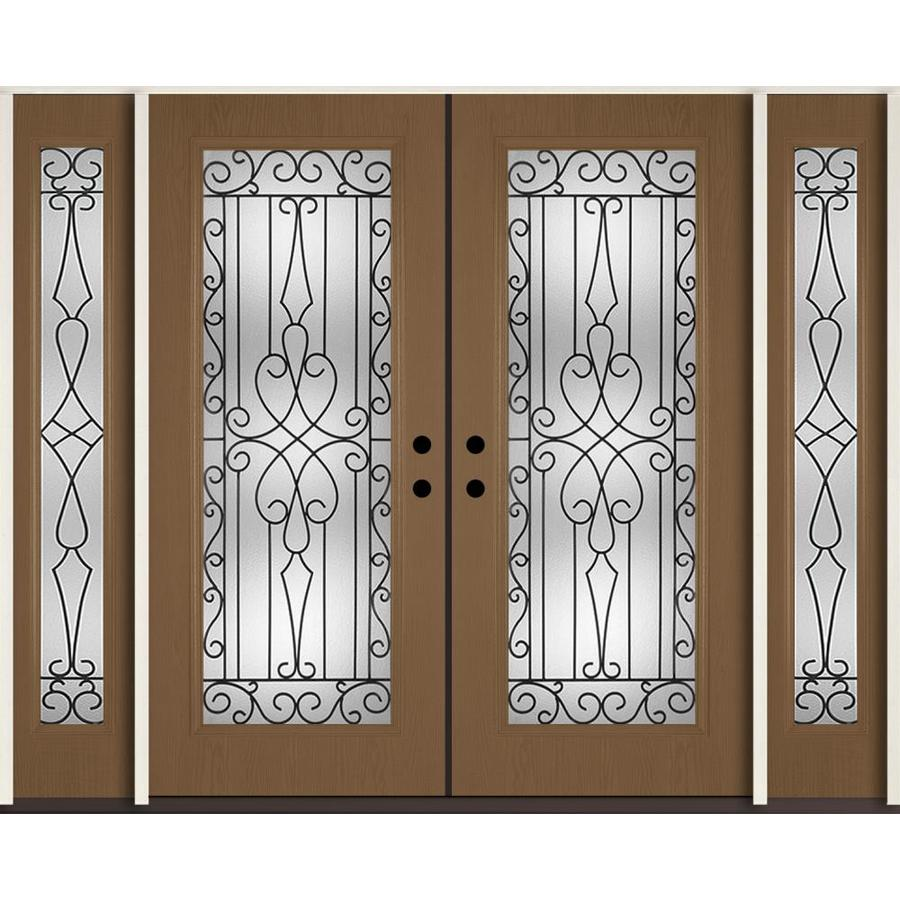 ReliaBilt Wyngate Decorative Glass Right-Hand Inswing Woodhaven Fiberglass Stained Entry Door (Common: 96-in x 80-in; Actual: 100.875-in x 81.75-in)