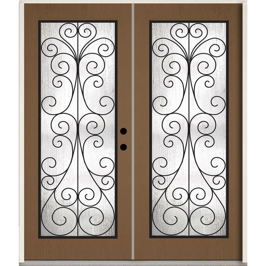 ReliaBilt Decorative Glass Left-Hand Inswing Woodhaven Stained Fiberglass Prehung Double Entry Door with Insulating Core (Common: 72-in x 80-in; Actual: 73.785-in x 81.75-in)