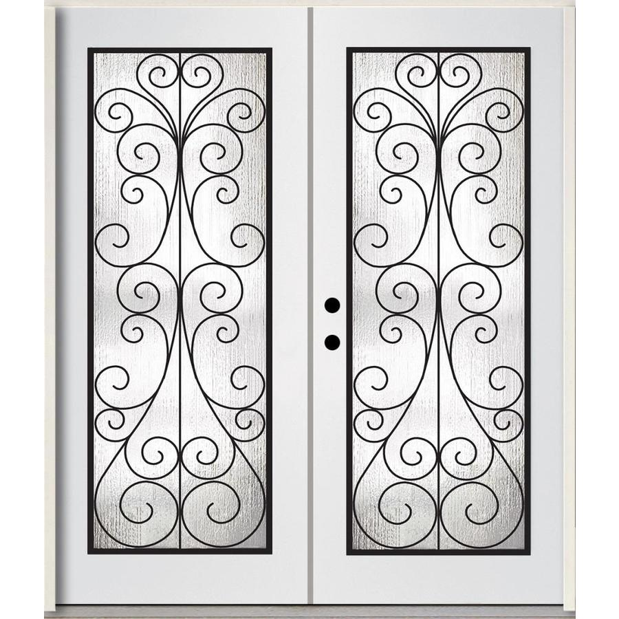ReliaBilt Decorative Glass Right-Hand Inswing Modern White Painted Fiberglass Prehung Double Entry Door with Insulating Core (Common: 72-in x 80-in; Actual: 73.785-in x 81.75-in)