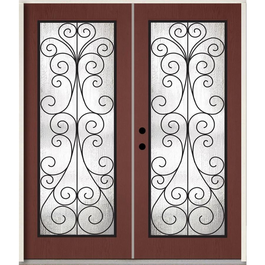 Shop reliabilt decorative glass right hand inswing wineberry stained fiberglass prehung double for Reliabilt decorative glass interior doors