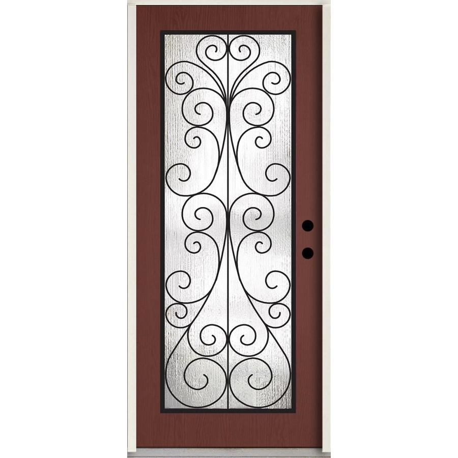 ReliaBilt Decorative Glass Left-Hand Inswing Wineberry Stained Fiberglass Prehung Entry Door with Insulating Core (Common: 36-in x 80-in; Actual: 37.5-in x 81.75-in)